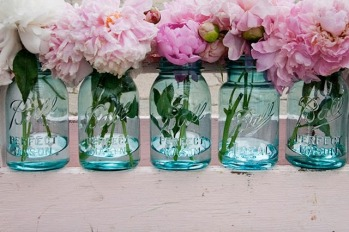 mason jars with pink peonies